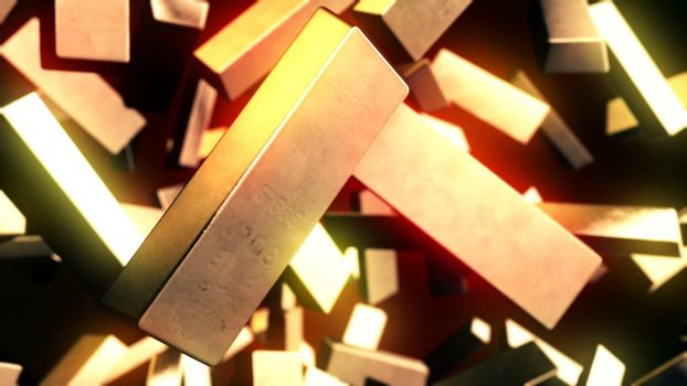 CGI motion graphics with golden bars