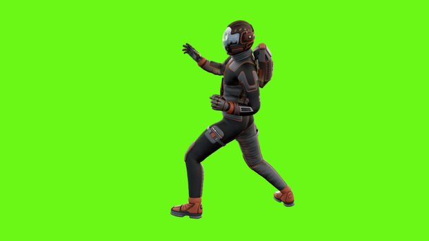 man fights on green screen from two angles.