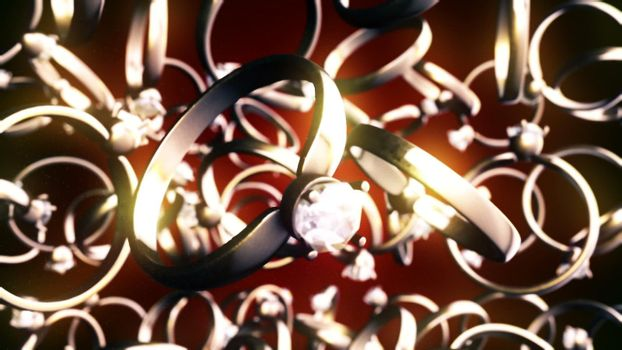 CGI motion graphics with golden rings