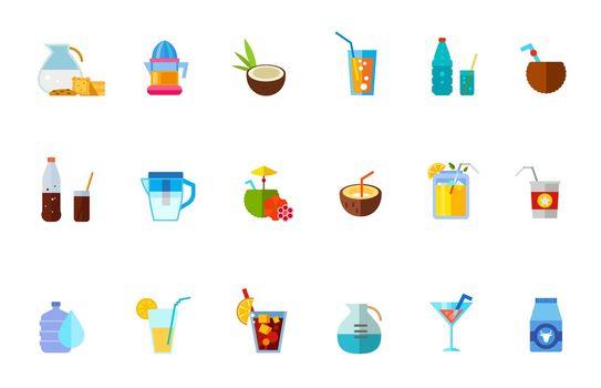 Various refreshing drinks icon set
