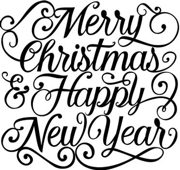 Merry Christmas Lettering With Flourishes
