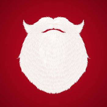 Santa Claus beard on red background