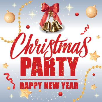 Christmas Party Inscription and Bells