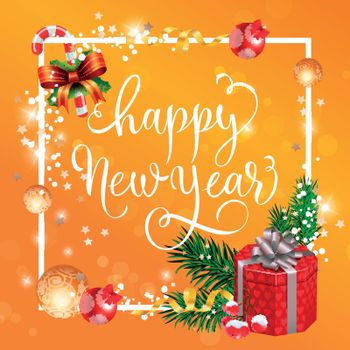 Happy New Year lettering with gift