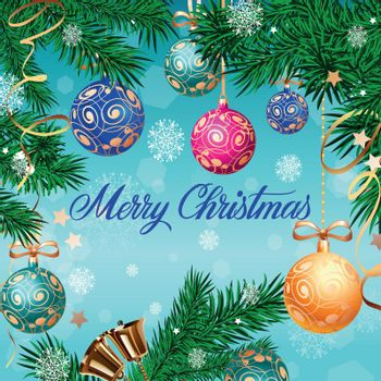 Merry Christmas Lettering and Bells