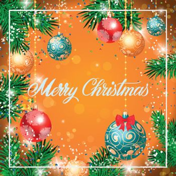 Merry Christmas Lettering in Frame