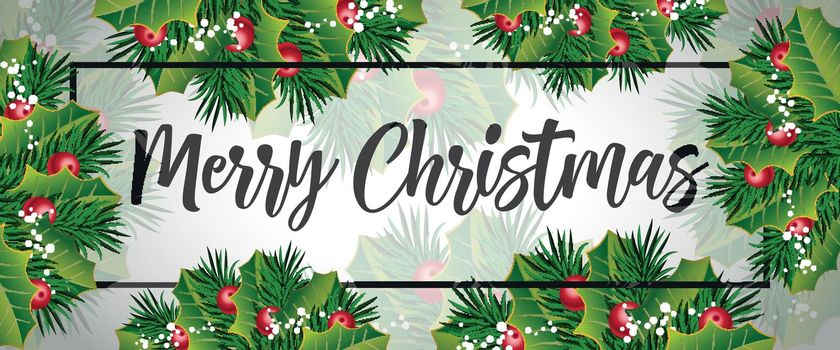 Merry Christmas lettering with leaves