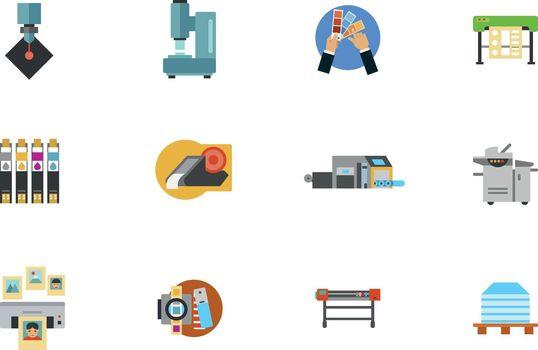 Print Media Production Icon Set