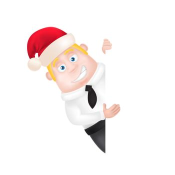 Businessman in Christmas Hat