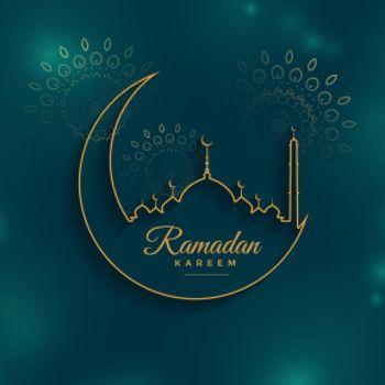 ramadan kareem background in line style