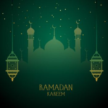 ramadan kareem green wishes greeting design