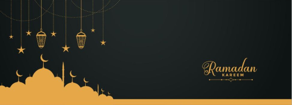 religious ramadan kareem banner with mosque design