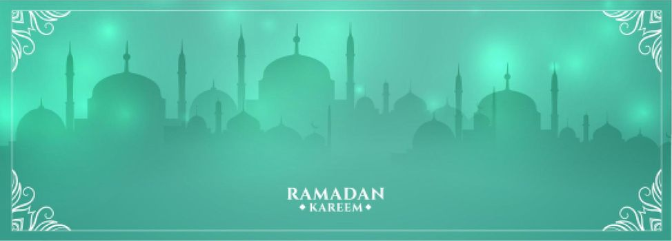 shiny ramadan kareem mosque greeting design