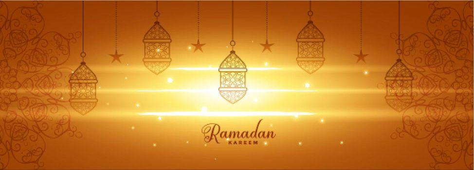 shiny ramadan kareem glowing banner design