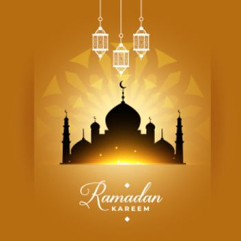 stylish ramadan kareem mosque greeting design