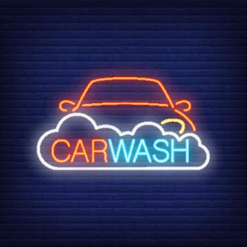 Carwash neon text, automobile and foam