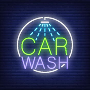 Car wash neon text and shower logo