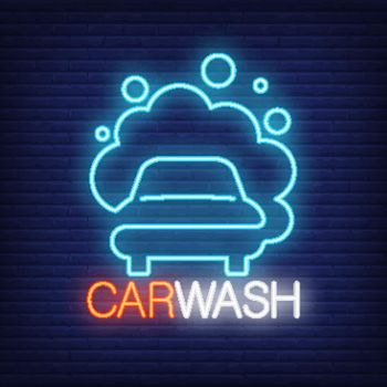 Carwash neon word and automobile in foam logo