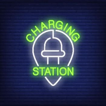 Charging station neon sign