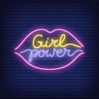 Girl power neon text in lips outline logo