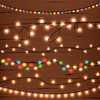 String Lights on Wooden Wall
