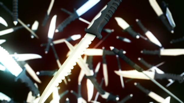 CGI motion graphics with flying knifes