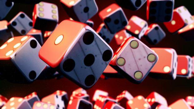 CGI motion graphics with flying dice