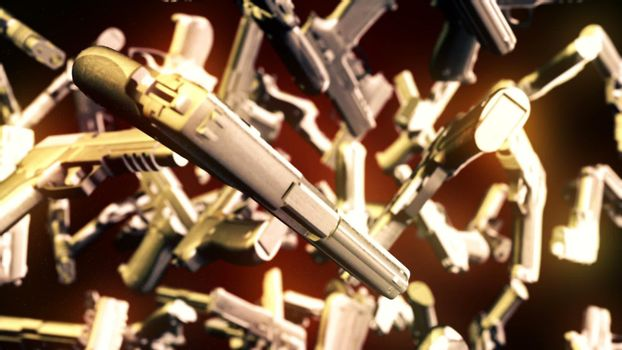 CGI motion graphics with flying pistols