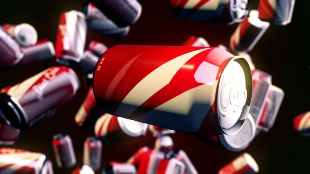 CGI motion graphics with flying beverages
