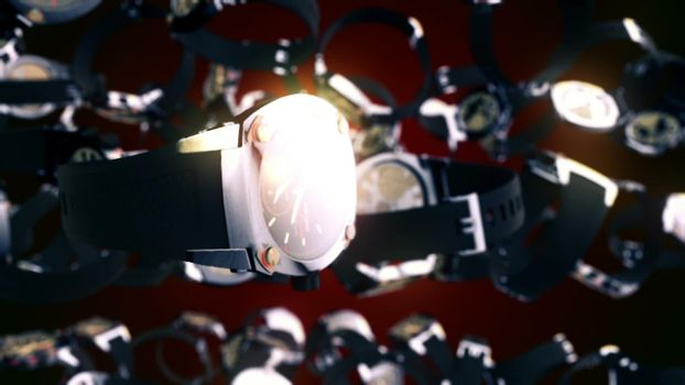 CGI motion graphics with flying watches