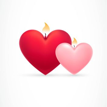 Beautiful hearts with flames
