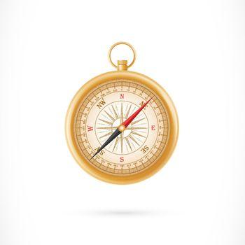 Compass in Golden Case Illustration