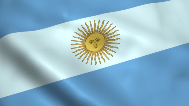 Realistic Argentina flag waving in the wind.