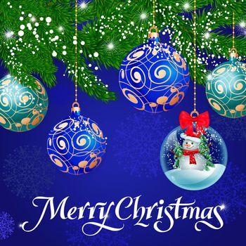 Merry Christmas Lettering, Ornate Balls