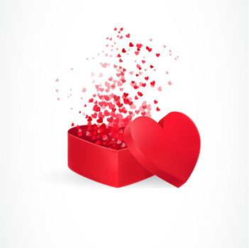 Hearts flying from box