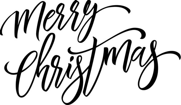 Merry Christmas Lettering with Swirls