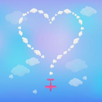 Plane drawing heart in sky