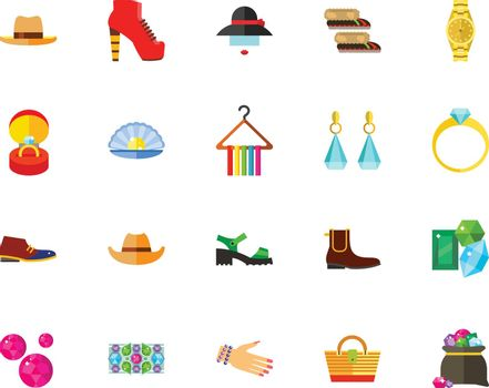 Accessories and shoes icon set