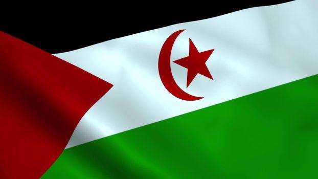 Realistic Western Sahara flag waving in the wind.