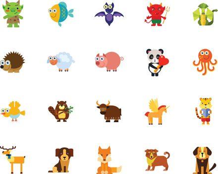 Cartoon animals icon set