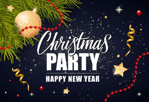 Christmas Party Lettering and Ball