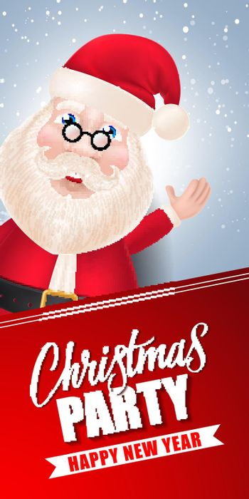 Christmas Party Lettering and Santa Claus