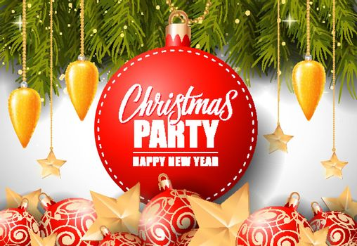 Christmas Party Lettering on Round Tag