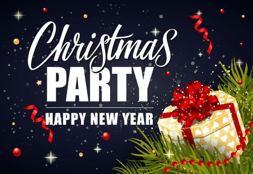 Christmas Party Lettering and Gift Box
