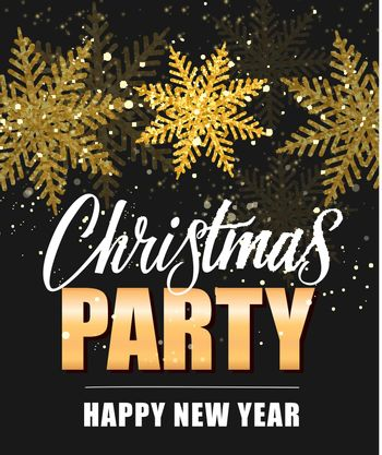 Christmas Party Lettering with Snowflakes