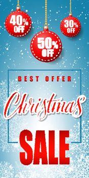 Christmas Sale Inscription with Baubles