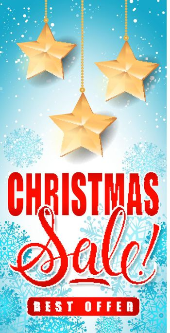 Christmas Sale Lettering with Stars