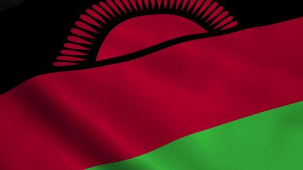 Realistic Malawi flag waving in the wind.