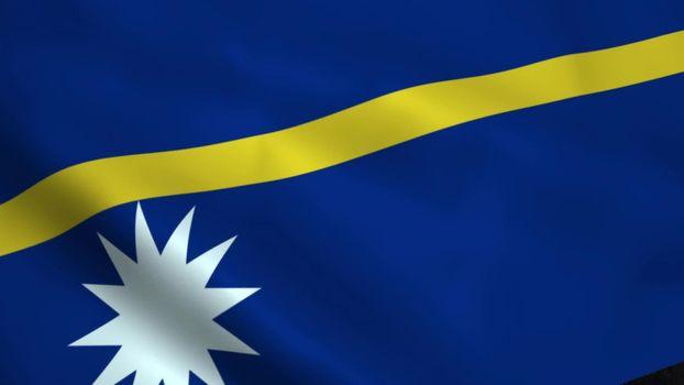 Realistic Nauru flag waving in the wind.