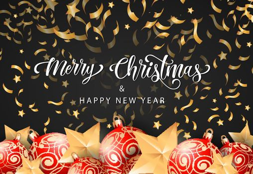 Christmas and Happy New Year Lettering
